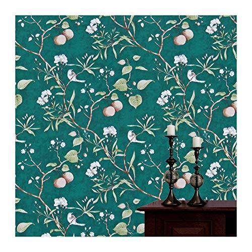 W-L Vinilo melocotón árbol pelada y Palo Verde Papel Tapiz Flor y pájaro Impermeable Impermeable Papel Tapiz Autoadhesivo Papel de Pared decoración de la casa (Color : Peach Leaf, Size : 3mx45cm)