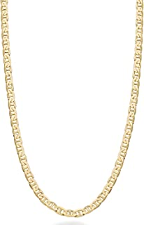 Miabella Solid 18K Gold Over Sterling Silver Italian 3mm, 4mm, 6mm Diamond-Cut Flat Mariner Link Chain Necklace for Women ...