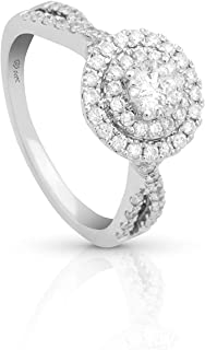 Femme Luxe 1.00 carats (ct.t.w.) Round Diamond Halo Cluster Statement Ring for Women, 14K White Gold, Color: G-H, Clarity:...
