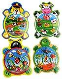 Globo Juguetes globo–3768522x 29,5x 0,8cm, 4surtidos Legnoland madera Puzzle de los animales con botones (Juego de 6)