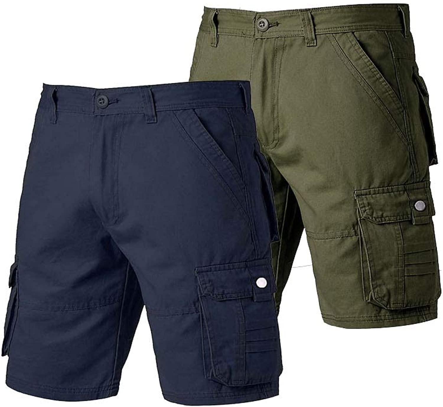 Men's Classic Cargo Shorts 2 Pack Relaxed Fit Stretchy Multi-Pocket Casual
