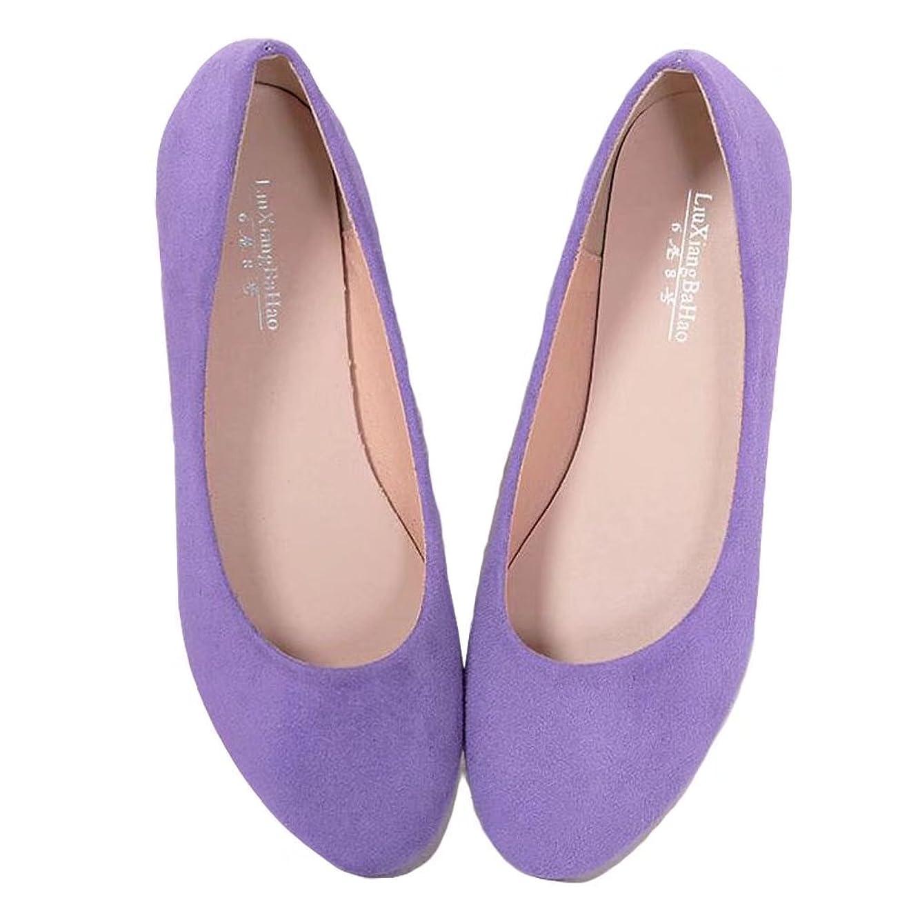 プレゼンターまどろみのある成熟した【ユウエ】パンプス レディース フラットパンプス ローファー ローヒール ぺたんこ フラットシューズ 婦人靴 大きいサイズ 痛くない 014-xz-668-1(38 パープル)