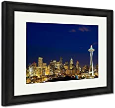 Ashley Framed Prints Seattle Skyline at Dusk, Custom Home Decor Art with Multiple Choices, Color, 26x30 (Frame Size), Black Frame
