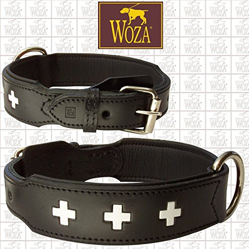 Woza Exclusive HUNDEHALSBAND 3,8/70CM Swiss Berner SENNNHUND Vollleder SATTLERNAHT RINDNAPPA SCHWARZ Handmade Collar