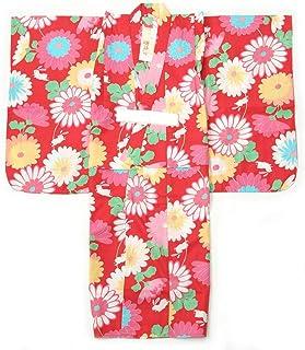 子供浴衣 女の子 130cm 9~10才 単品 赤地 花とうさぎ柄