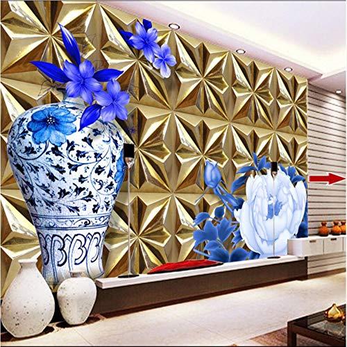 Meaosy Grote persoonlijk voor elk muralogram van papier, met reliëf, 3D-wand, met goudkleurige vaas roos, voor slaapkamer, tv-achtergrond, wallpaper 280x200cm