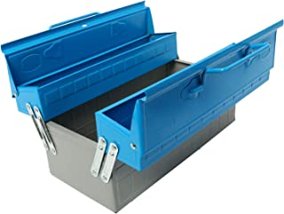 NovelBee 13.5 Inch Portable 3-Tray Cantilever Metal Tool Box,2-Leve Tool Chest Cabinet