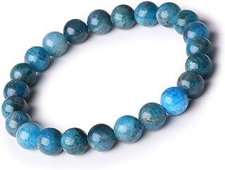 Tr/ésors dAmbre Bracelet Boule 6mm en Apatite Bleue Extra Concentration Pierre Naturelle Lithoth/érapie Reiki