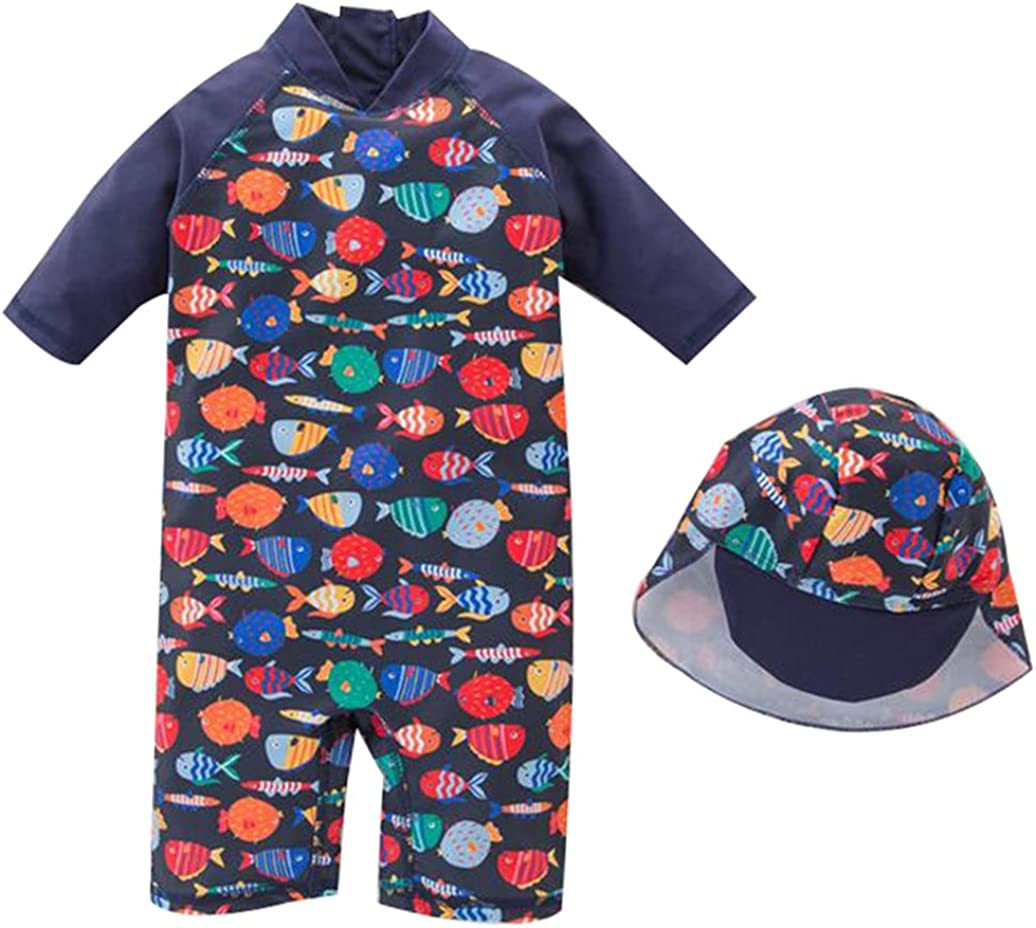 Sun Protection Dinosaur Bathing Suit with Hat Baby//Toddler Boys Two Pieces Short Sleeve Swimsuit Set UPF 50