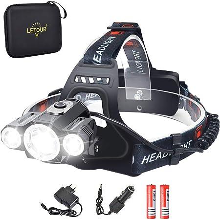 Headlight & Bike Light 2 in 1, LETOUR LED Headlamp 1800 Lumen, CREE Rechargeable Head Lamp, Waterproof Flashlight, Dismountable Camping Light for Riding Fishing Running Hiking