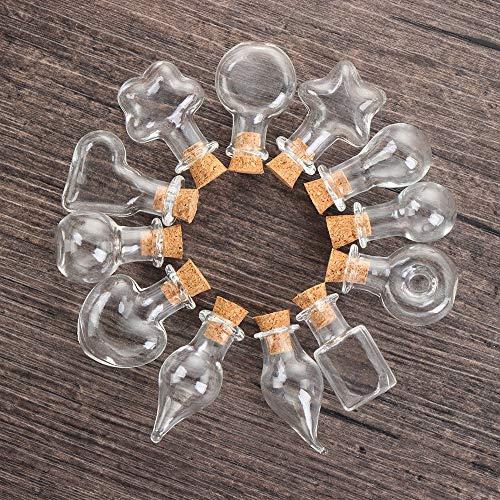 HGNFD Botellas de Vidrio con Tapones, Botella de Vidrio para Deseos, frascos de Muestra vacíos, frascos para Accesorios Decorativos de Banquete Boda y decoración Collar DIY(12 Piezas de combinación)