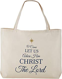 Oh Come Let Us Adore Him Christmas Canvas Tote Bag, 20 Inches