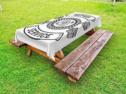 ABAKUHAUS Automonteur Tafelkleed voor Buitengebruik, Gereedschap reparatieservice, Decoratief Wasbaar Tafelkleed voor Picknicktafel, 58 x 120 cm, Grijs wit