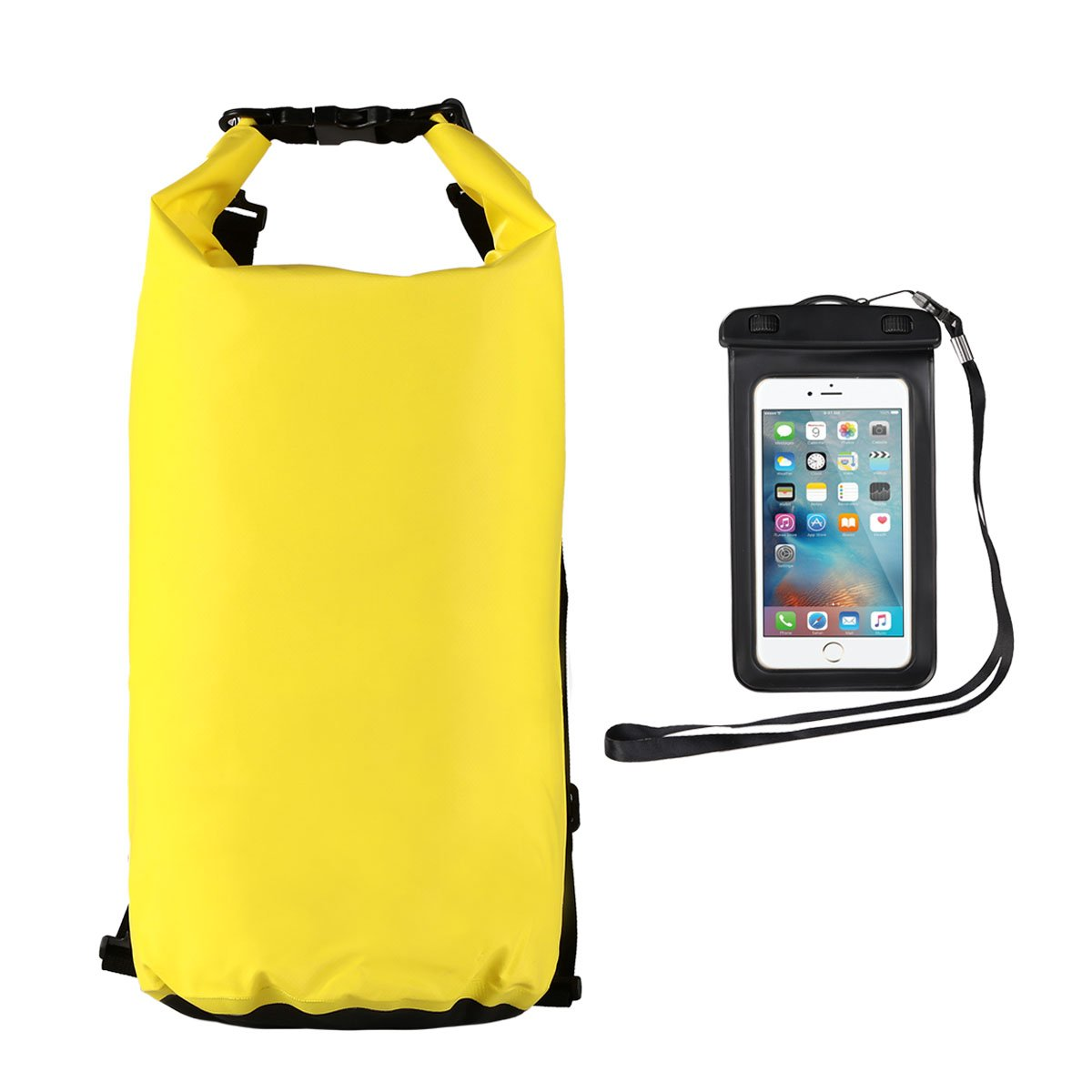 Youngdo 20L Bolsa Estanca Impermeable Mochila Estanca Funda Universal para Smartphone al Aire Libre y Deportes Acuáticos 2 Pack 500D Amarillo: Amazon.es: Electrónica