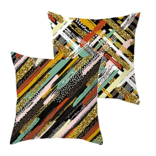 Pack de 2 Fundas de Cojines Rayas de color Funda de Almohada Cuadrado Terciopelo Suave con Cremallera Invisible para Sofá Coche Decor para Hogar Throw Pillow Case Regalo J1644 Pillowcase_45x45cm