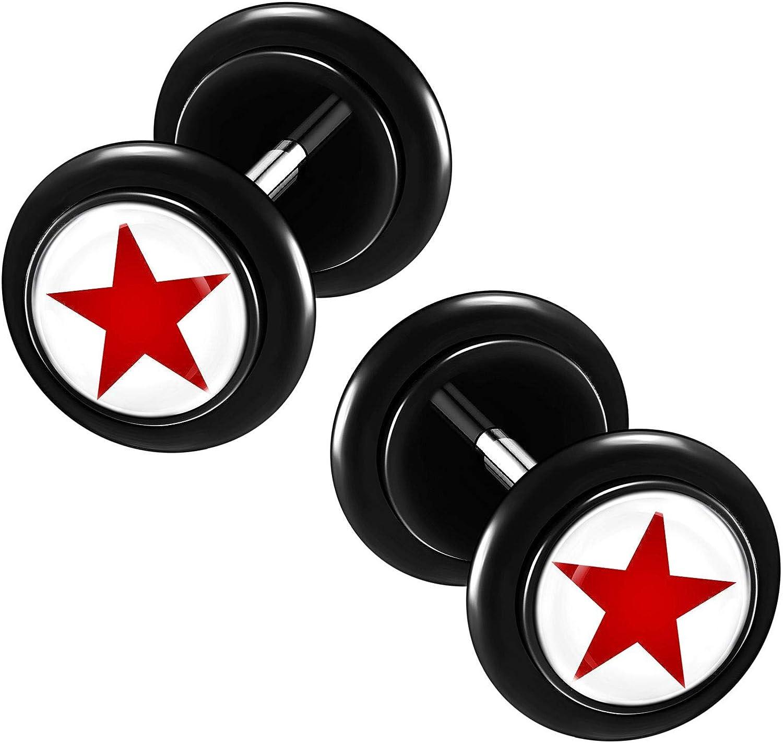 KJM FASHION 2PCS Acrylic Black Cheater Plug Earring Illusion with Black O-Rings Gauge Ear Lobe Piercing Jewelry More Theme