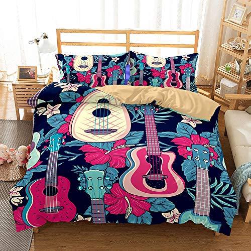 BEDSETAAA Bettwäsche Set Cartoon Pattern Gitarre Schlafzimmer Mit Bettbezüge Kissenbezug Dreiteiliges Set, 200X229Cm