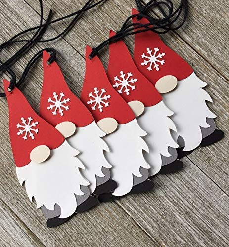 Gnome Holiday Gift Tags - Premium Handcrafted - Snowflake Christmas Tags - Set of 7 Tags