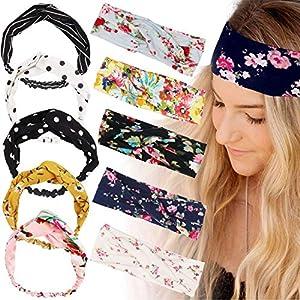 ABirdon 10 Pcs Diademas Mujer Boho Flor Vintage Impreso, Turbante Cinta de Pelo Mujer Elástico para la Mujer | DeHippies.com