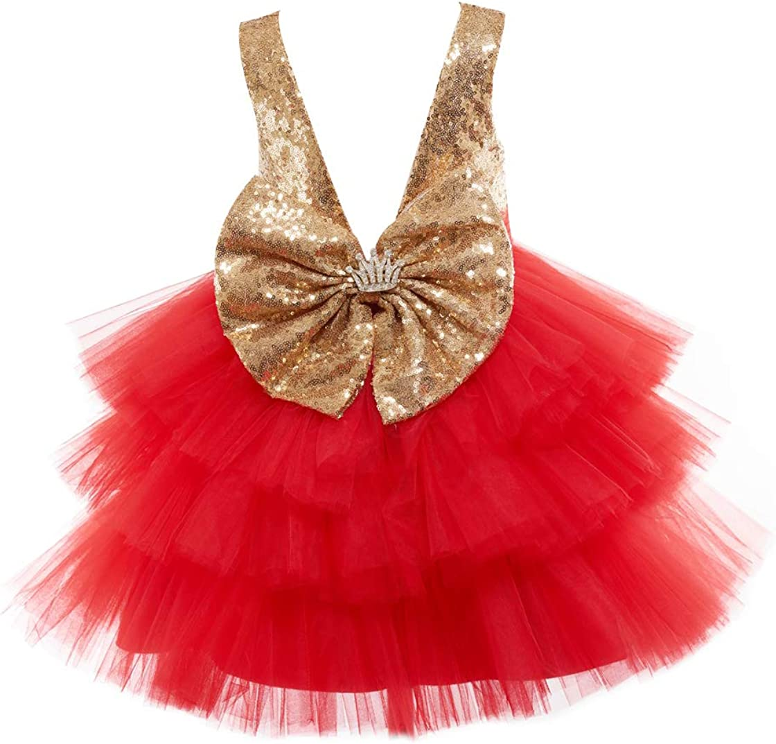 Miama Gold Sequin Red Tulle V Back Wedding Flower Girl Dress Junior Bridesmaid Dress