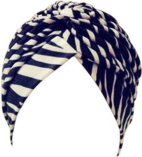 EachWell Women Pleated Ruffle Stretch Turban Hat Hair Wrap Cover up Sun Cap