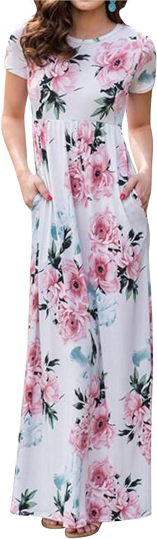 Ezcosplay Women Floral Print Round Neck Short Sleeve Maxi Dress with Pockets