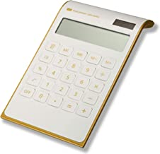 CAVEEN Calculator Ultra Thin Solar Power Calculator for Home Office Desktop Calculator Tilted LCD Display Business Calculator (White, Basic)