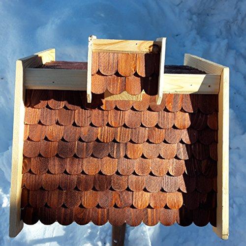 Vogelhaus-XXL mit Holzschindeln und Putzklappe lasiert Vogelhäuser-Vogelfutterhaus großes Vogelhäuschen-aus Holz Wetterschutz (Braun) - 6