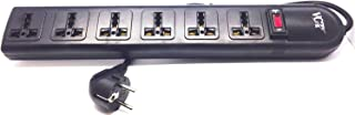 VCT WPSB 220/240 Volt 6-Universal Outlet Power Strip and Surge Protector 13 Amp Circuit Breaker 50/60 Hz 450 Jules with Grounded Euro Plug