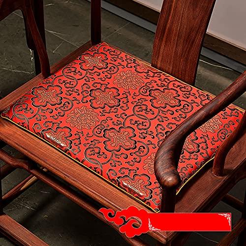 ZYBCQL Estilo Chino Cojines De Asiento para Sofa,Esponja Sillón Cojines para Sillas Cojín De Silla,Rojo Non Slip Cojín De Suelo para La Decoración del Hogar-D 45x38cm(17.7x15in)