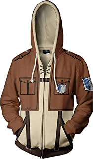 Men Attack on Titan Long Sleeve Full-Zip Bomber Jacket Hooded Varsity Jacket