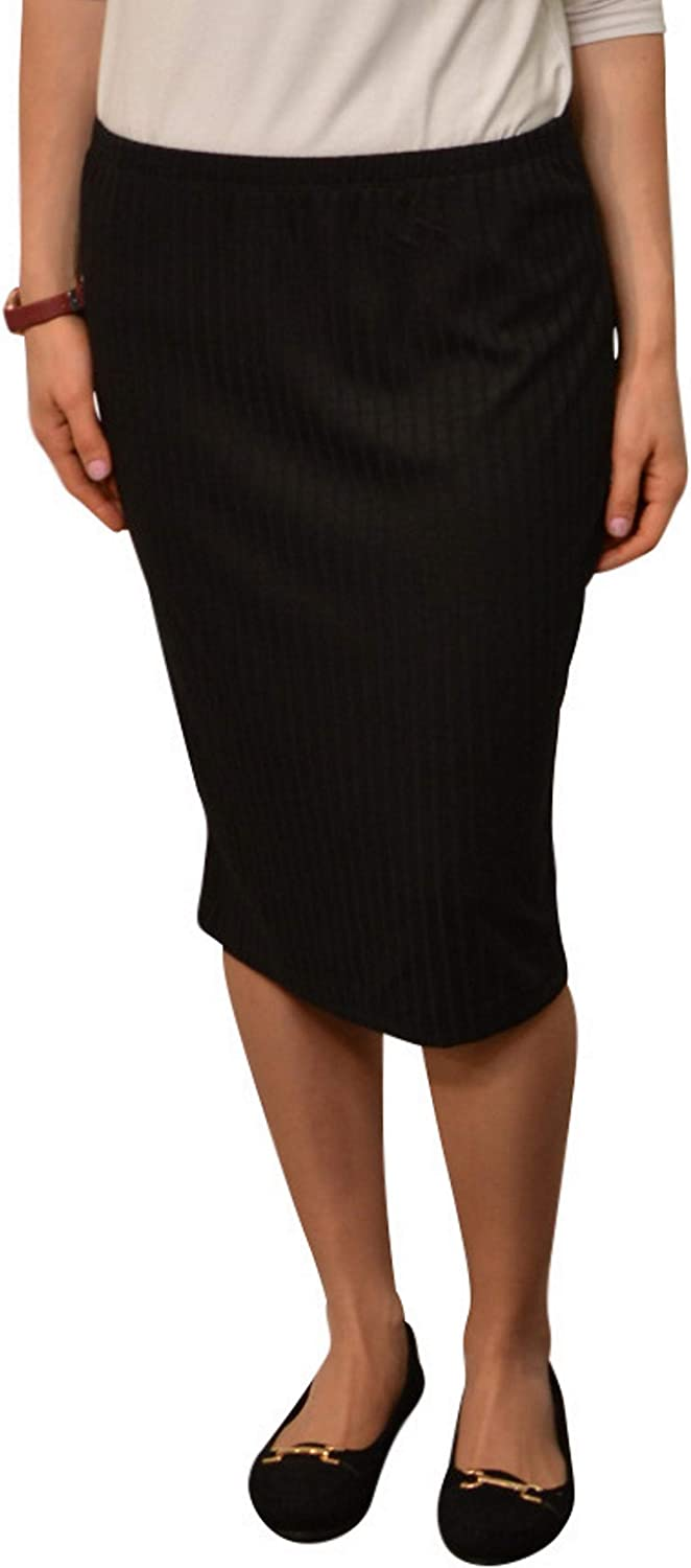 Kosher Casual Fitted Pencil Skirt with Ribbed Fabric - Modest Knee Length for Women