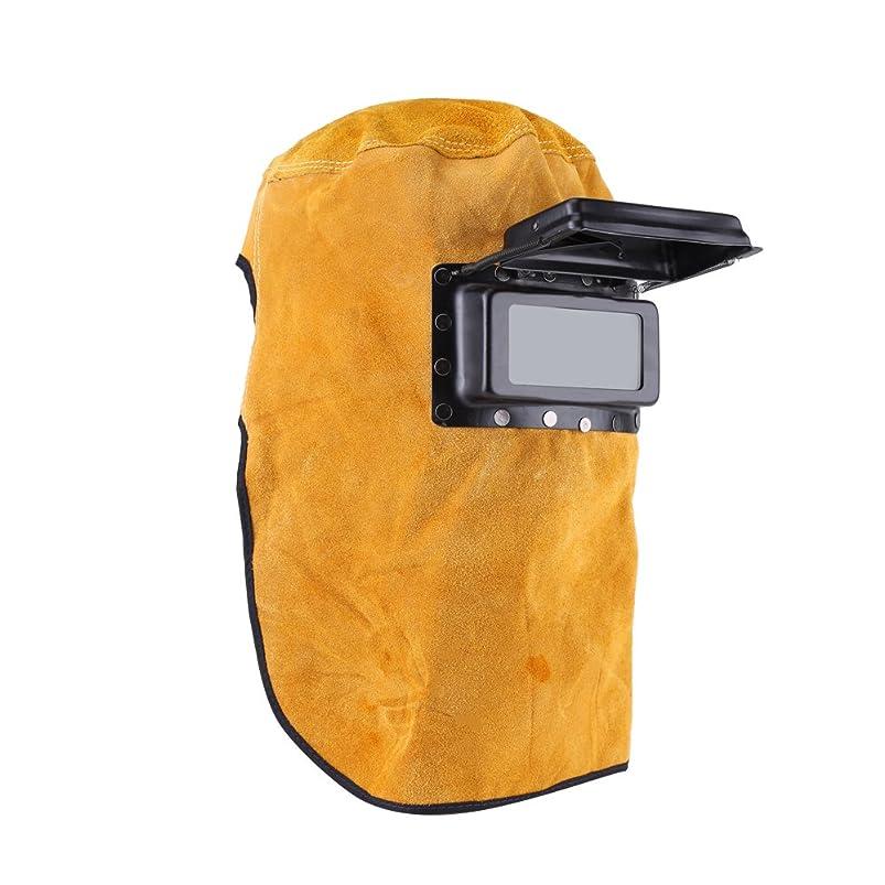 最後に電話に出るテント溶接ヘルメット保護マスク、Akozonレザーレンズクラムシェル溶接フード全ラウンド保護耐久性良い品質耐熱通気性