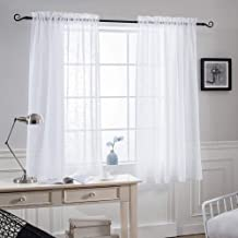 NICETOWN Faux Linen Bedroom Sheer Curtains 45 inch Length - Privacy Semitransparent Light Filtering Semi Voile Sheer Drapes for Bathroom/Living Room (52 Inch Width, 1 Pair, White)