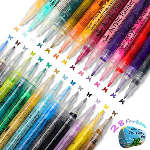 Seven Sparta Acrylstifte Marker Stifte 28 Farben 0.7mm Feine Wasserfeste Stifte für Steine, Metall, Glass, Holz, Leinwand, Keramik, Tafeln, Papier, Fotoalbum, Schuhe
