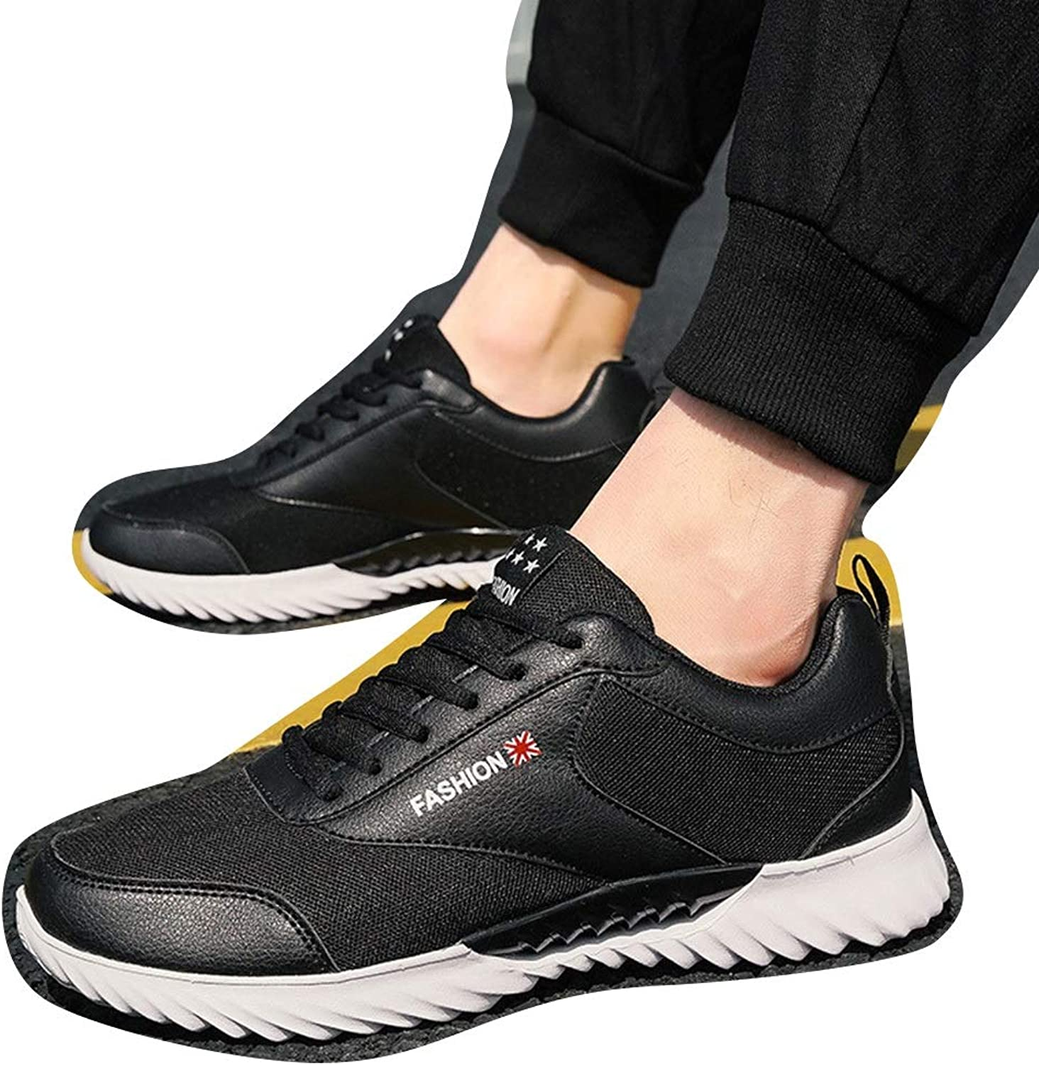 Williess Men's shoes Breathable Mesh Casual shoes Men's Sports shoes (color   Black, Size   42)