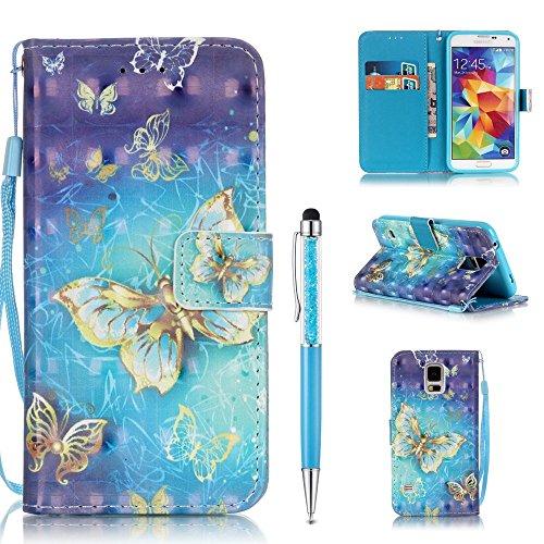Handytasche für Samsung Galaxy S5 Hülle,ZCRO Leder Schutzhülle Brieftasche Magnet Etui Flip Case 3D Bunt Muster Handyhülle mit Kartenfach Trageschlaufe Stift für Samsung Galaxy S5(Gold Schmetterling)