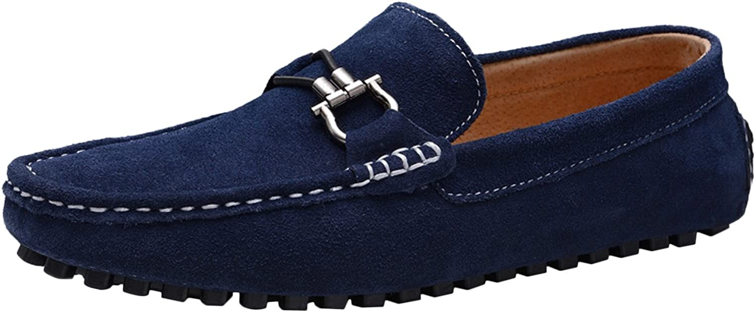 Icegrey Men's Casual Driving Moccasin Loafer With Silver Ornament Deep bluee 39