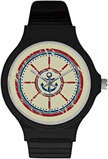 Geometric Utility Unisex Round Plastic Watch,Abstract Dotted Floral Arrangement Circular Traditional Japanese Motifs Decorative for Daily,Case Diameter : 37mm