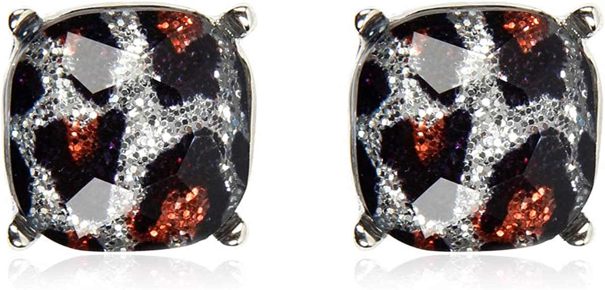 Sale Faceted Jewel Statement Stud Outlet ☆ Free Shipping Earrings Cushion Square Spark Cut -