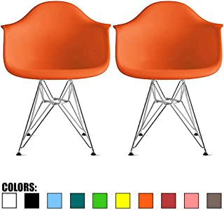 2xhome Set of 2 Orange Mid Century Modern Vintage Designer Molded Shell Plastic Armchair with Arms Back Chrome Wire Metal Base Eiffel Dining Chairs Living Room Accent Dowel Office Guest Work Desk DAR
