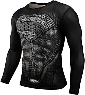 CoolMore Super Man Compression T Shirts Long Sleeve Cosplay Tops Tee for Man 3D Printed T Shirts
