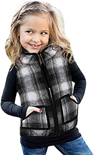 Ivay Girls Buffalo Cotton Plaid Quilted Vest Cute Puff Lined Gilet (6T/120cm, Black)