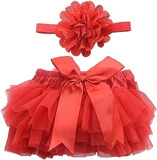 088306eb08206 BESTOYARD Jupe Tutu et Bandeau Fleur Bébé Fille Costume Anniversaire Fête  Enfant Rouge Taille S