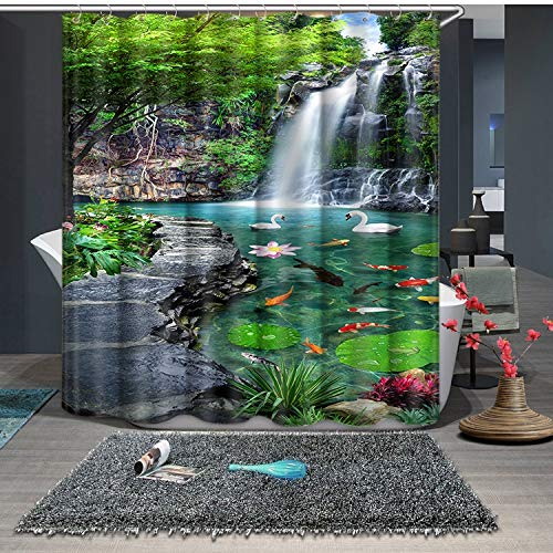 JZDH Duschvorhang für Badezimmer Schwan Landschaft Wasserfall Muster Protect Privacy Duschvorhang, Digital Gedruckte Duschvorhang Ist Leicht Zu Entfernen