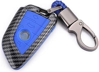 WFMJ ألياف كربون زرقاء + زر سيليكون ريموت 4 أزرار مفتاح غطاء حافظة غطاء غطاء حماية لBMW 2 5 6 7 سلسلة X1 X2 X5 X6 M5 M6 X5...