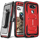 COVRWARE Aegis Series case for LG G5 with Built-in Screen Protector Heavy Duty Full-Body Rugged Holster Armor Case Belt Swivel Clip Kickstand, Red