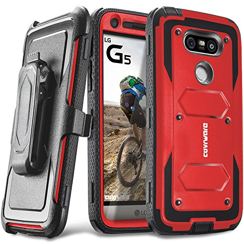COVRWARE LG G5 - [Aegis Series] with Built-in [Screen Protector] Heavy Duty Full-Body Rugged Holster Armor Case [Belt Swivel Clip][Kickstand], Red (CW-G-AG03)
