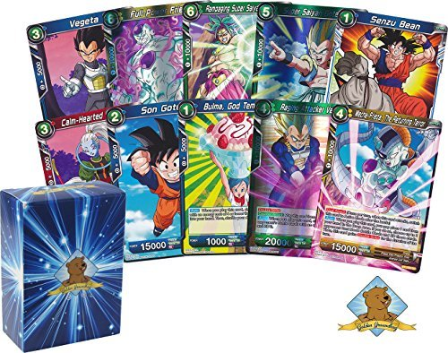 Dragon Ball Super Lot of 50 Cards! Random Rare Card in Each Bundle! Includes Golden Groundhog Deck Box!