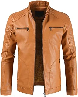Mens Long SleeveThicken Warm Casual Zip Up Slim Faux Leather Bomber Jackets